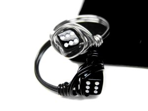 Black and Silver Dice Ring. Wire Wrapped Ring