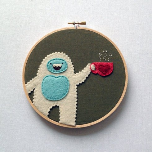 Yeti Loves Tea - Hand Embroidered Wall Art by scientificculture