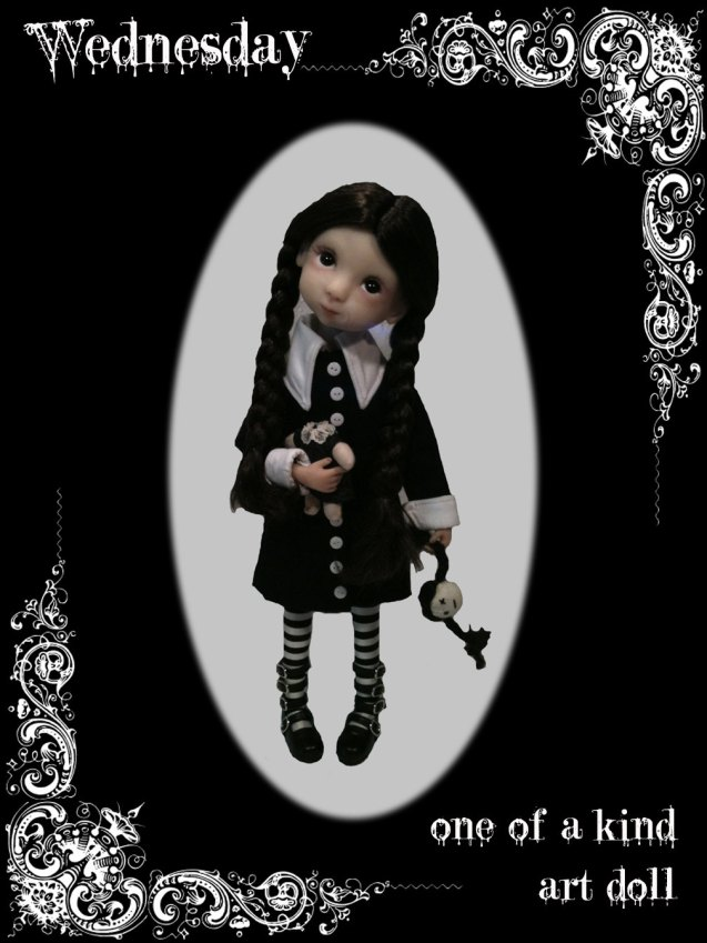 OOAK Wednesday Addams Art Doll by sandramaxwellstudios