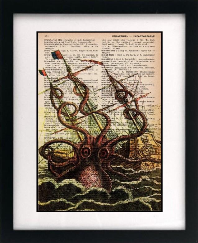 Octopus Print - Vintage Dictionary Print by littlebluebirdstudios
