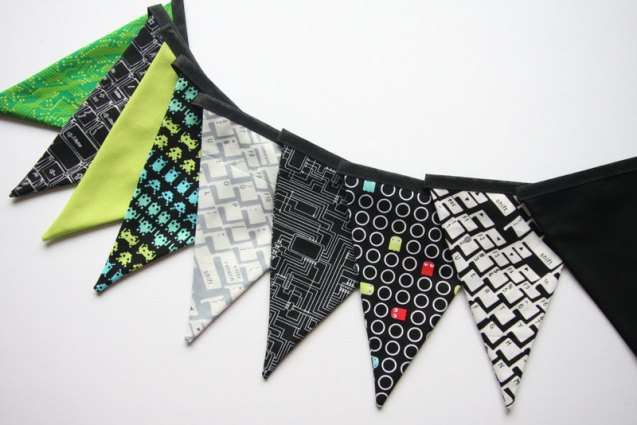Geeky Retro Space Invaders PacMan Fabric Bunting by booandthebeast