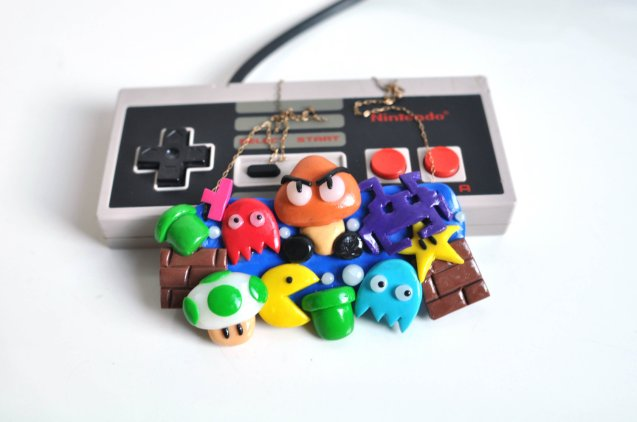 Super Space Tetris Man Nintendo Bib Necklace by MyCheekyCreations