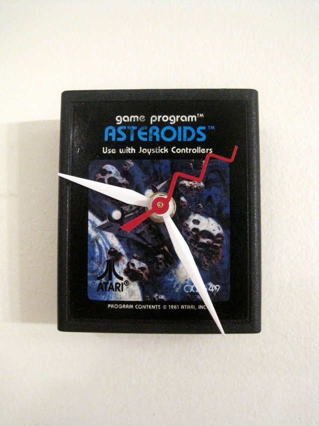 Asteroids ATARI Video Game Clock by RecyclingTime