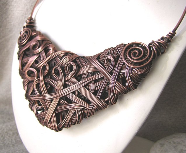 Warrior Pagan Fae Woven  Wire Copper Necklace by WireMoon