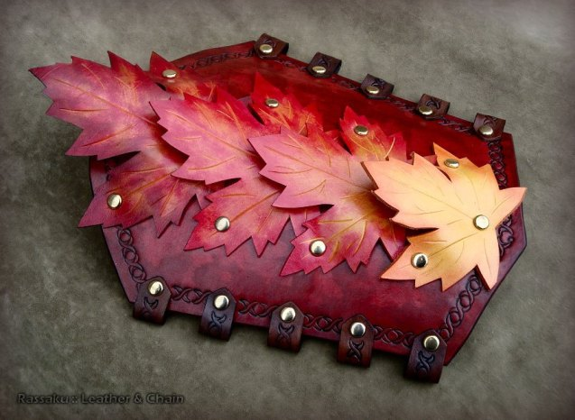 Autumn Splendor Fantasy Armor Leather Bracers by Rassaku