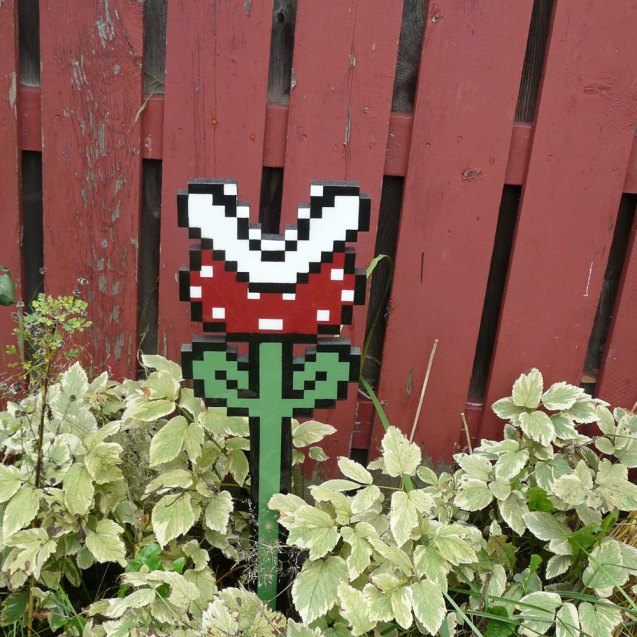 Piranha Plant Super Mario 3 Garden Art by pixelparty