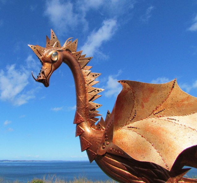 Copper Dragon Handmade Garden Art Sculpture by CedarMoon